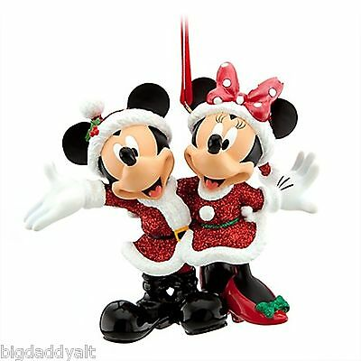 NEW Disney Minnie & Mickey Mouse Santa Christmas Holiday Ornament Park Exclusive