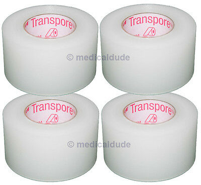 "3M 1527-1 Transpore Clear Surgical First-Aid Tape 1"" x 10yd - 4 Rolls"