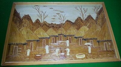 African Village With Women Cooking - Banana Fibre  - Picture Frame