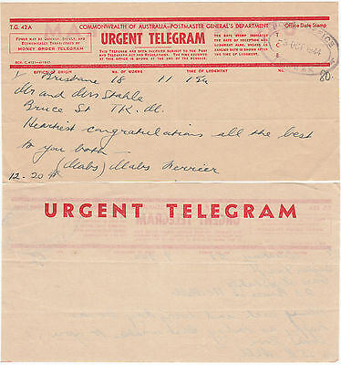 Postmark TOORAK Victoria 1944 Urgent Telegram from Brisbane to Captain Stahle