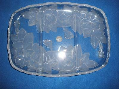 Contemporary Glass Collection Soga Japan Oblong Platter Snow Rose
