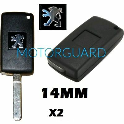 2 X Remote Key Fob Case Logo Emblem Badge Sticker Decal 15Mm For Fits Peugeot