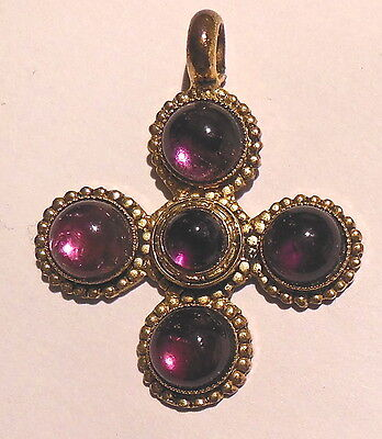 Rare ancient cross gold plated metal set with colored glass paste  N°2