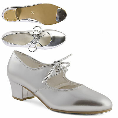 Silver Cuban Heel PU Tap Shoes with toe taps Girls Ladies by Dance Gear CHPS