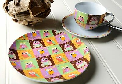 Patchwork Owls 3 Piece Afternoon Tea Set By Creative Tops
