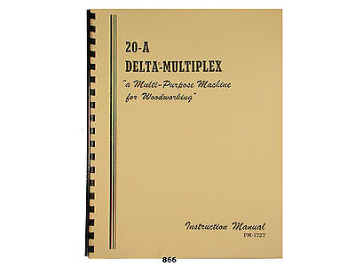 Delta Multiplex 20-A Radial Arm Saw Operator and Parts List Manual *866