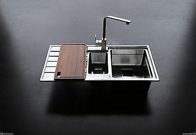 304 Stainless Steel kitchen sink 1.5 Bowl chaneled drainer top mount drop in