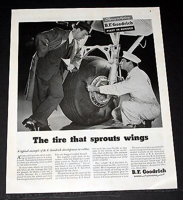1945 OLD WWII MAGAZINE PRINT AD, BF GOODRICH, AIRCRAFT TIRES THAT SPROUT WINGS!