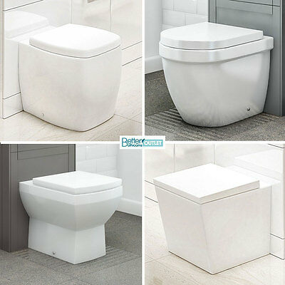 Back To Wall Toilet Modern WC Ceramic Pan Cloakroom Soft Close Seat