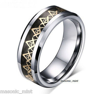 Mens Stainless Steel 'masonic G' Ring, Square & Compass, Band, Gift, N P R T V X