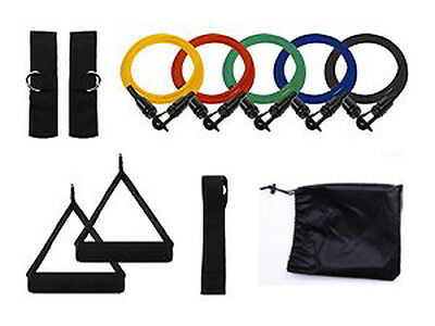 11pc RESISTANCE BANDS SET Colour Coded, for Yoga, Abs Exercise, Weight Loss, etc
