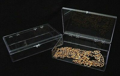 """Large Clear Acrylic Bead Storage Etc. Boxes With Snap Closure 6 Qty 6"""""""