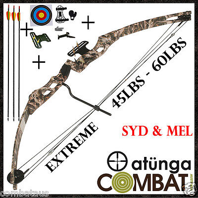 New Extreme Camo 60Lbs Compound Bow And Arrow Starter Kit Hunting Target Archery