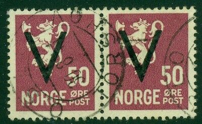NORWAY #218 (277), 50ore V-Ovpt, used PAIR, VF and scarce multiple, Scott $1,500