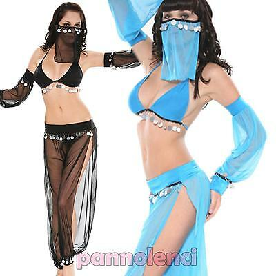 Costume carnevale DANZA del VENTRE azzurro donna odalisca belly dancer DL-490