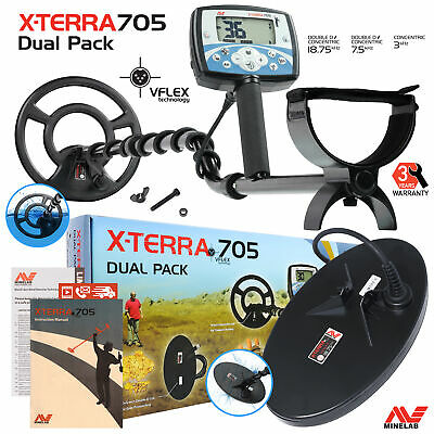 "Minelab X-Terra 705 Dual Pack Metal Detector with 9"" and 5"" x 10"" Search Coils"