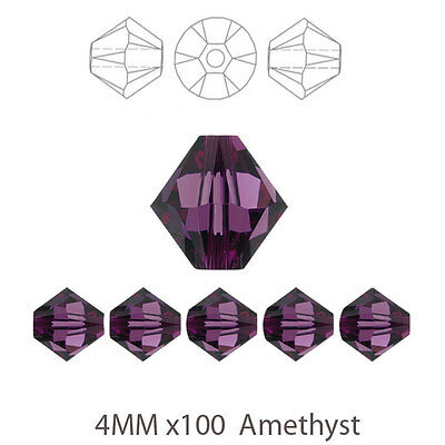 4MM x 100 Amethyst Purple Bicone Crystal Glass Beads