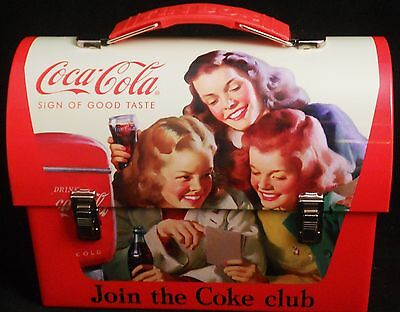 "COCA COLA COLLECTABLE LUNCH BOX  7 1/4"" W x 5 1/2"" T x 3 3/4"" D"
