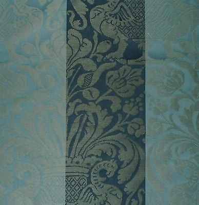 SCHUMACHER Drago Damask Prussian Cadet Stripe Cotton Linen Woven New Remnant