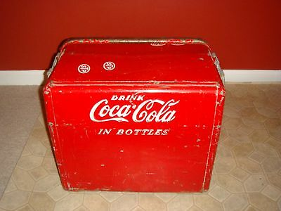 Vintage 1950 Cavalier Co. Coca-Cola Ice Chest/Cooler Raised Letters/Drain/Opener