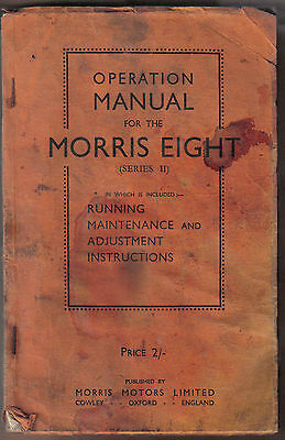 Morris Eight 8 Series II original Operation Manual (Handbook) Pre war cars
