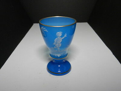 "Bohemian Art Glass Goblet Mary Gregory Style Enamel Blue Gold Trim 5 1/2"" T"
