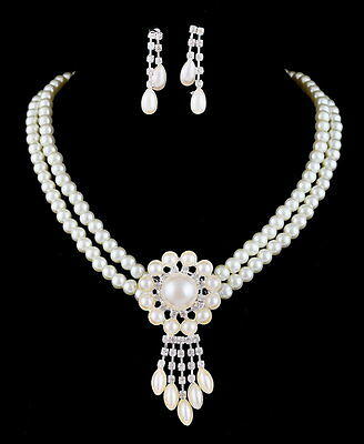 Evening Dress Acessories Wedding Party White Pearl Necklace Earrings Set Jewelry