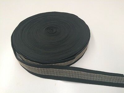 25mm BLACK GRIPPER ELASTIC : 20Mtr CARD : #EL1B