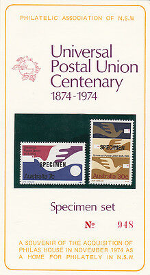 Stamps Australia 1974 UPU pair overprinted SPECIMEN on official souvenir card