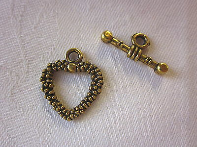 5 Antique Gold Colour Heart Toggle Clasps 19x15mm (Bar 19mm) #610