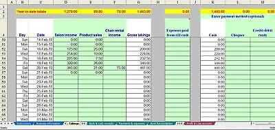 Hair/beauty salon bookkeeping system (non-VAT business) - 2018 year end version