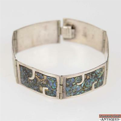 Vintage Abalone Hecho En Mexico Sterling Silver 925 Link Bracelet Cuff Bangle