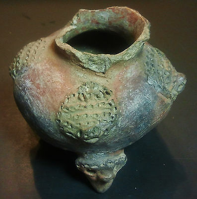 Atq Pre-Columbian Redware PotteryTripod Pot Bowl Figural Rattle Feet Polychrome