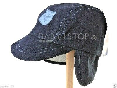 Boys/ Toddler Navy Denim Teddy Sherpa Hat Cap Fleece Lining 12-24 Months 50cms