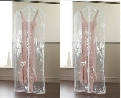 Set Of 2 Clear Garment Dress Suit Clothes Coat Cover Protector Travel Zip Bag