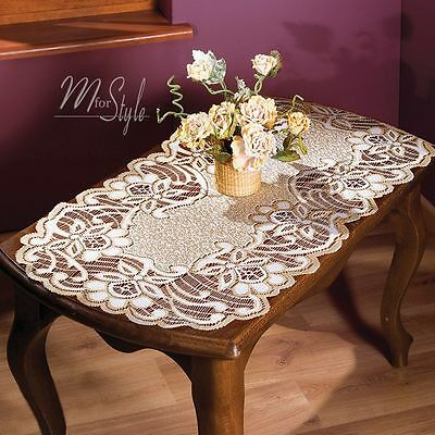 """Lace Table Runner Natural Golden beige Oval High Quality 24"""" x 47"""" (60 x 120cm)"""