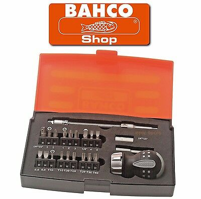 "BAHCO 22 Piece STUBBY Ratchet Screwdriver 1/4"" Bit Holder & Bits Set, 808050S-22"