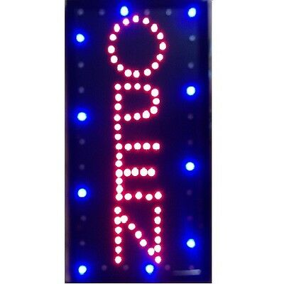 Animated Motion LED Business Vertical Open SIGN +On/Off Switch Bright Light Neon