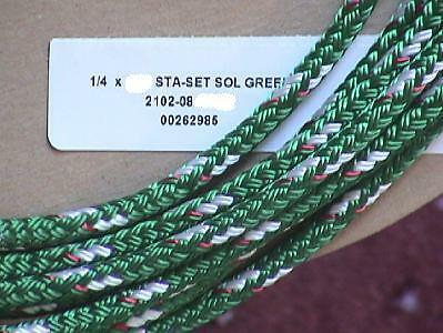 "1/4"" Sta-set Rope, per-10 ft, New England Ropes Green Staset 2102-08"