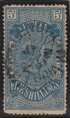 Stamp 1879 Victoria 5/- blue on yellow stamp statute revenue issue used