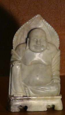 Antique Qing Dynasty Chinese Green Stone Hand Carved Seated Buddha Statue