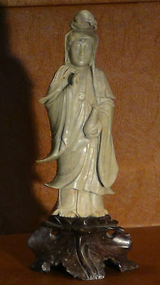 Antique Chinese Light Green Stone Hand Carved Standing Quan-Yin Statue On Base.