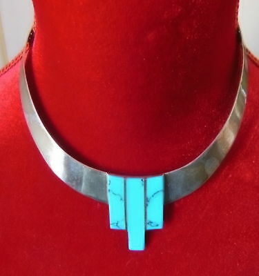 Beautiful - Art Deco -  Necklace - Sterling Silver And Turquoise Vintage