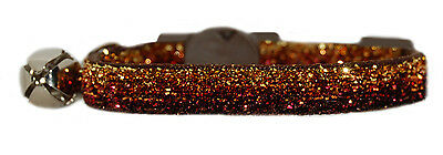 brown bronze gold sparkle bling safety kitten cat collar