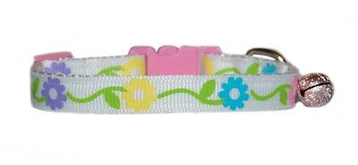 white with pretty pink blue purple flowers  safety kitten cat collar
