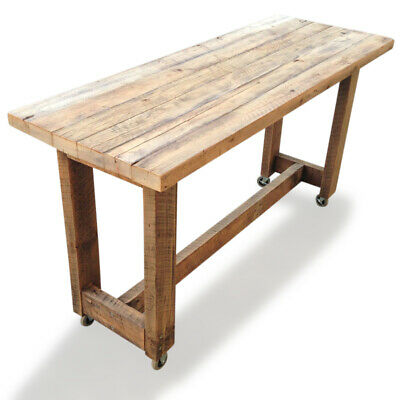 Solid Timber Kitchen Island High Bench Table w/ Wheels in Natural Free Delivery