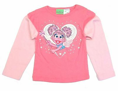 "Sesame Street ""Abby & Heart"" T- Shirt Long Sleeve Toddler Girls Pink 2T 3T 4TNWT"