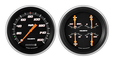 Classic Instruments 51-52 Chevy Car Package w/ Velocity Black Gauges Dash Insert
