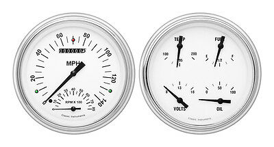 Classic Instruments 51-52 Chevy Car Package w/ White Hot Gauges Dash Insert Tach