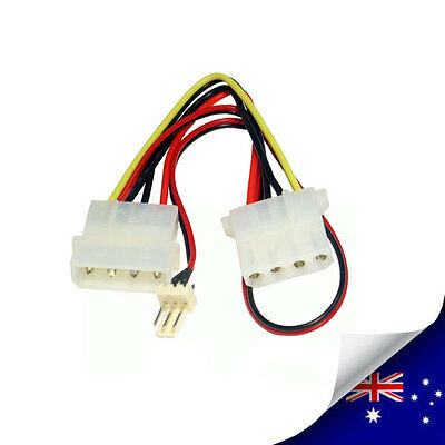 IDE Molex 4 Pin Female & Male to 3 Pin Male PC Fan Connector Cable - NEW (N011)